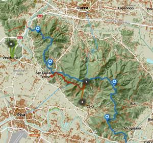 Mappa Monti Pisani